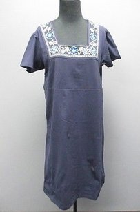 Denim & Co. short dress Blue And Navy Knit Shift W Embroidered Collar 1406 on Tradesy