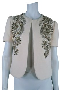 Derek Lam Embroidered Floral Metallic Cream Jacket