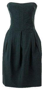 Derek Lam Strapless Pleated Bustier Fitted Tulip Skirt Dress