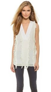 Derek Lam Crosby Vneck Fringe Shell Crisp Cotton Shirt Top White