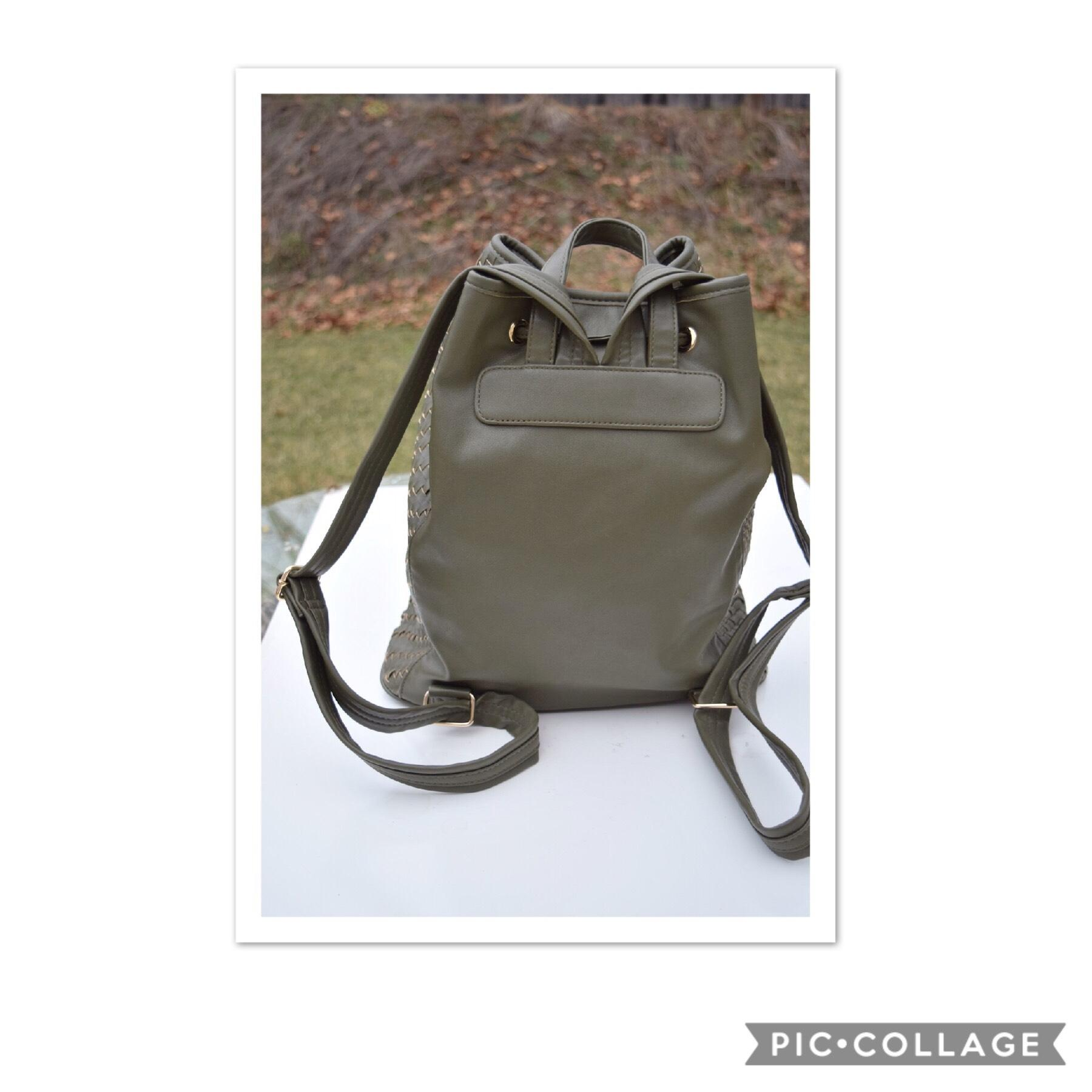 Deux Lux Woven Drawstring Olive Green Faux Leather