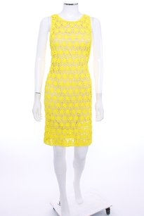 Diane von Furstenberg short dress Yellow Crochet on Tradesy
