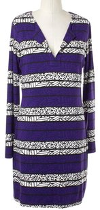 Diane von Furstenberg short dress Purple Black White on Tradesy