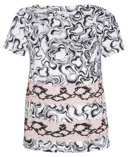 Diane von Furstenberg Lace Silk Edgy Top Black, White, Pink