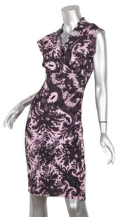 Diane von Furstenberg Womens Blackpink Floral Silk Knit Surplice Sheath Dress
