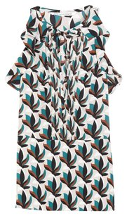Diane von Furstenberg Silk Ruffled Pleated Top White, Brown, Teal, Black