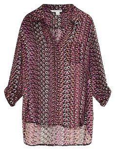 Diane von Furstenberg Dvf Pink Lorelei Two Silk Burnout Velvet Chain Print Dress Shirt Top Purple