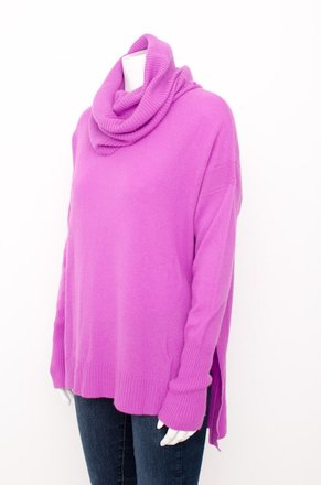 57fab2098a52 good Diane von Furstenberg Dvf Pink Ahiga Loose Turtleneck Cashmere Knit  Boxy High Low Pullover Sweater