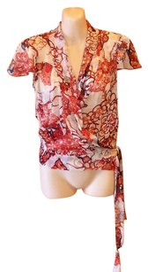 Diane von Furstenberg Wrap Style Chiffon Semi-sheer Beaded Top Red, Coral and Cream