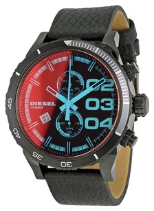 Diesel Diesel Double Down Series Orange Dial Black Leather Mens Watch DZ4311