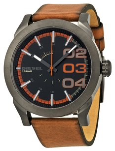 Diesel DZ1680 Men's Double Down Brown Leather Band Black Dial Analog Watch
