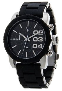 Diesel DZ5320 Women's Silver Tone SS Black Silicone Black Dial Chronograph Watch