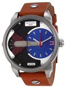 Diesel Diesel - Men's Mini Daddy Blue and Black Dial Dual Time Tan Leather Watch DZ7308