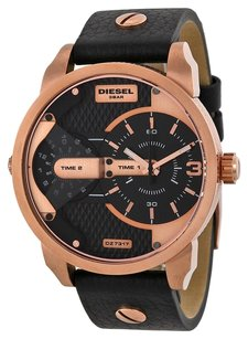 Diesel DZ7317 Mini Daddy Black Dual Time Dial Black Ion-plated Mens Watch