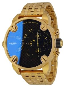 Diesel Little Daddy Chronograph Iridescent Dual Time Dial Gold-tone Men's Watch DZ7347