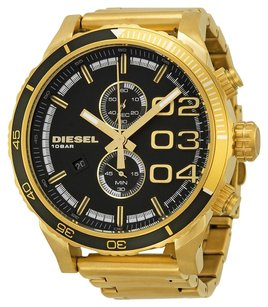 Diesel DZ4337 NWT Double Down 48 Gold Stainless Black Dial Chronograph Watch