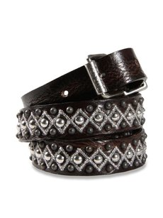Diesel studded & embroidered Leather