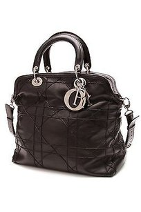 Dior Christian Cannage Quilted Leather Granville Tote in Black