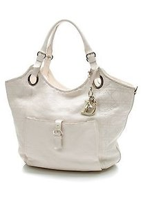 Dior Christian Pebbled Leather Bee Tote in Ivory