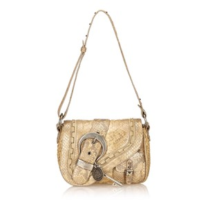 Dior Beige Brown Leather Shoulder Bag