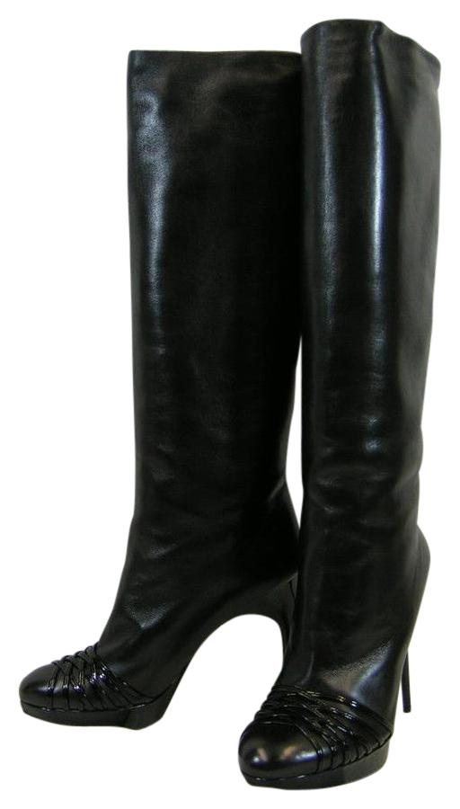 3f69fb41c5c2 Dior Black Leather Karenina Slouch Pull 11 11 11 Boots Booties Size EU 41 (