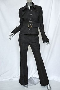 Dior Christian Dior Black Stretch Denimvelvet Jacketbeltflare Jeans Pant Set 840