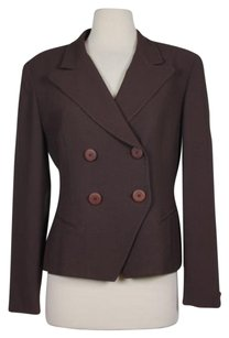 Dior Christian Dior Womens Brown Solid Blazerjacket Double Breasted