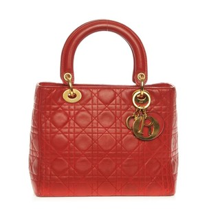 Dior Lambskin Christian Tote in Red