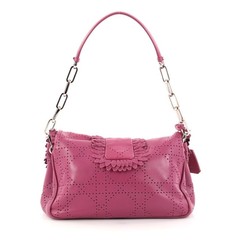 Dior New Lock Ruffle Flap Bag Perforated Leather