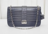 Dior Christian Crocodile Chain Strap Flap Lock Handbag Shoulder Bag