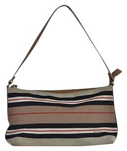 DKNY Womens Casual Striped Textile Handbag Baguette