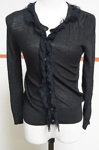 DKNY Black Fringed Button Sweater