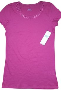 DKNY Womens Sequined Knit T Shirt Crimson