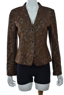 DKNY Dkny Womens Brown Floral Blazer Cotton Long Sleeve Career Jacket Wtw