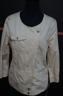 DKNY Jeans Khaki Cotton Linen Browns Womens Jean Jacket
