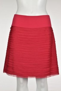 DKNY Womens Pencil Silk Knee Length Tiered Career Wtw Skirt Pink