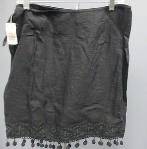 DKNY Womens Linen Embroidered Wrap With Tie Closure 3016 Skirt Black