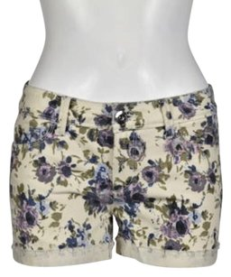 DL1961 Stella Womens Floral Denim 25 Casual Cropped Trousers Cut Off Shorts Ivory