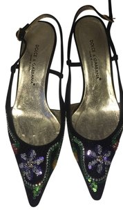 Dolce&Gabbana 37 1/2 37.5 Dolce And Gabbana Slingbacks Sequin Bead Low Heel Multicolor Formal