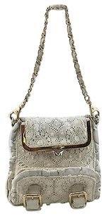 Dolce&Gabbana Lace Leather Gold Chain Baguette
