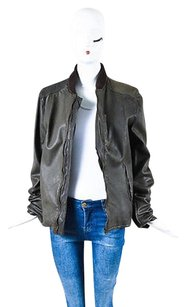 Dolce&Gabbana Olive Brown Leather Knit Collar Zip Green Jacket