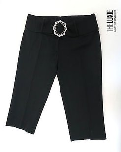 Dolce&Gabbana Wool Cropped Low Waisted With Belt Crystal Buckle Amazin Pants