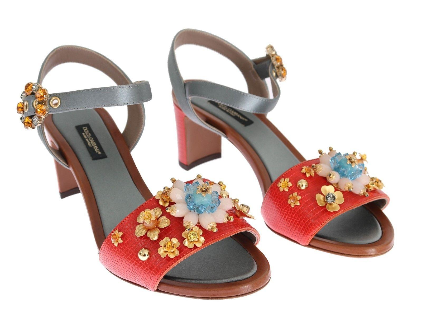 5cb2391c214c Dolce Gabbana Dolce   Gabbana Red Leather Floral Crystal Sandals Sandals  Sandals Size US 6.5 Regular (