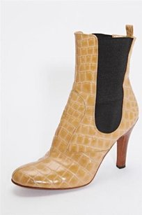 Dolce&Gabbana Croc Leather Elastic High Heel Ankle Tan Boots