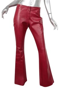 Dolce&Gabbana Womens Leather Side Crosstitch Bootcut Flare 404 Pants