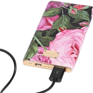 Dolce&Gabbana Printed textured-leather battery charger