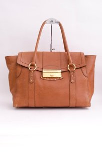 Dolce&Gabbana Dg Tan Textured Leather Lock Tote Hand Satchel in Brown