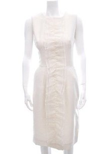 Dolce&Gabbana White Silk Chiffon Ruffle Zip Sleeveless Sheath 404s Dress
