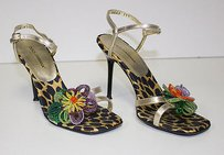 Dolce&Gabbana Gold Metallic Leather Silk Strappy Sahara Multi-Color Sandals
