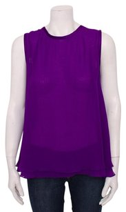 Dolce&Gabbana Dg Asymmetrical Sleeveless Two Layered Silk Sheer Top Purple